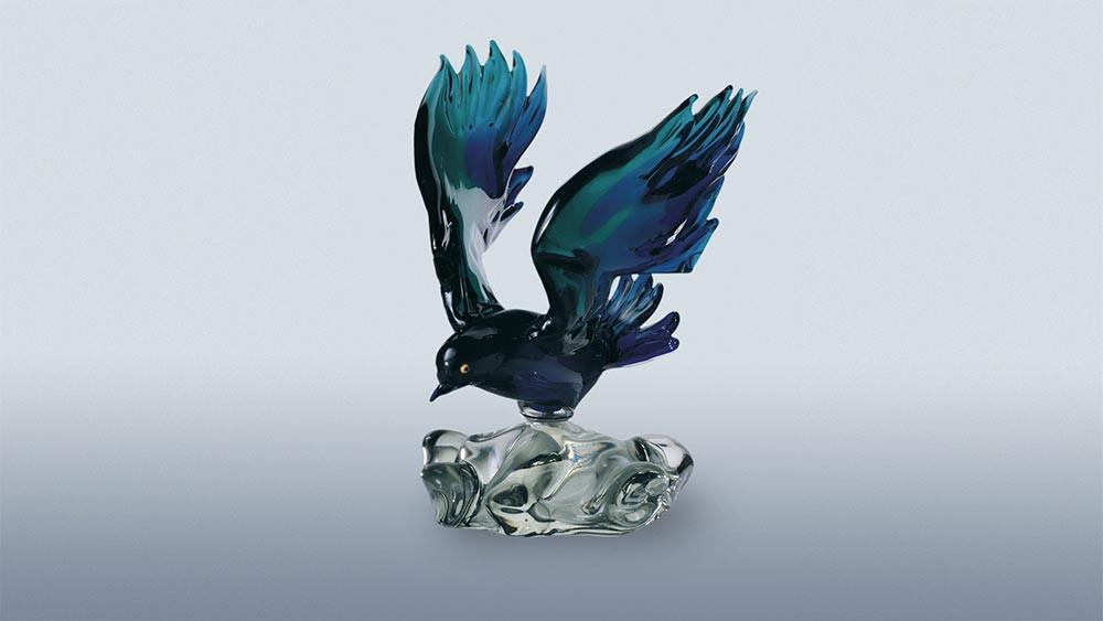 Fantasy Bird on glass base