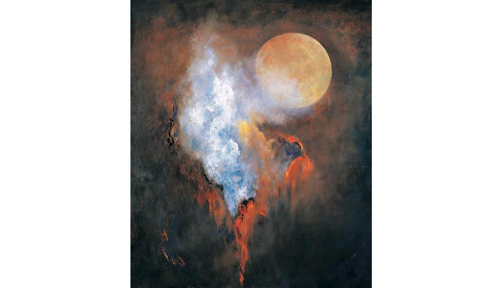 Moon and Erupting Landscape