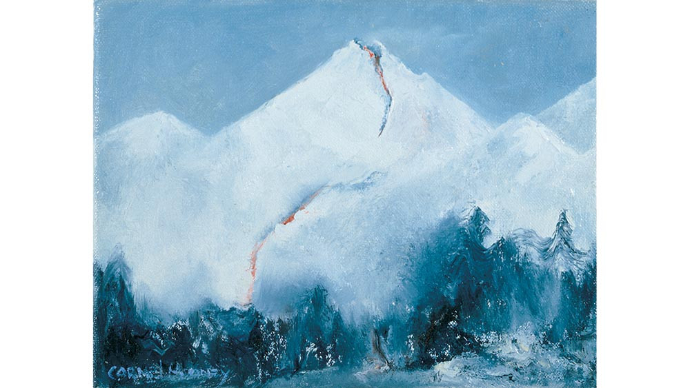 Snow, Trees and Erupting Mountain