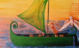 Owl and the Pussycat 'went to sea' acrylic