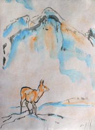 Deer against mountain brush stoke