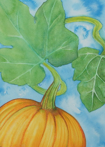 Pumpkin in Late Autumn watercolor