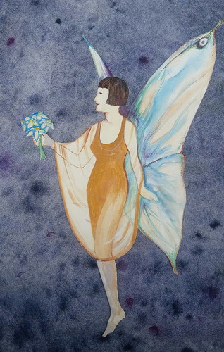 Cottingley Fairies Elsie and the Fairy detail watercolor