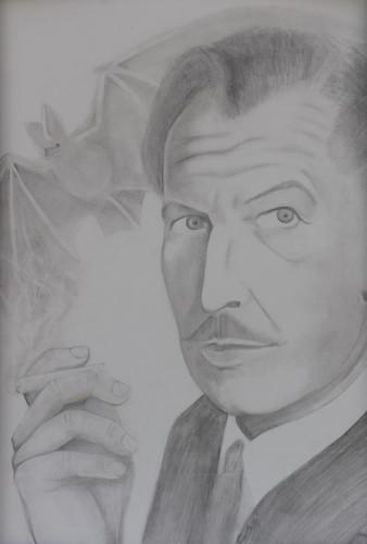 Vincent Price with Bat  graphite
