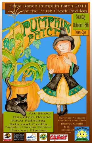 Pumpkin Patch posters Little Witch and Cat and a Pointy Black Hat