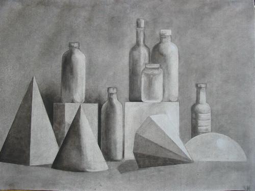 still life shape study graphite