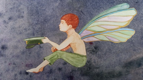 Cottingley Fairies Arthur and the Fairy  watercolor