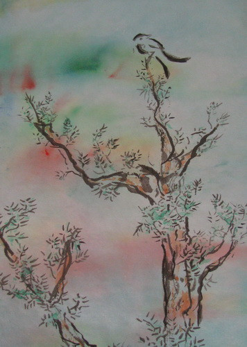 Swallows brush stroke