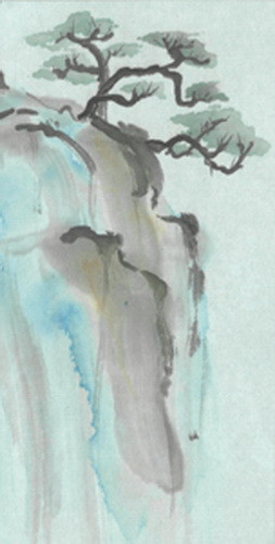 Tree on Cliff watercolor