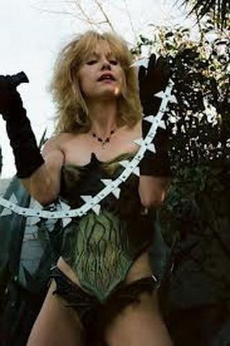 Linnea Quigley Scream Queen Linnea in Archaic Circuitry costume with razor whip