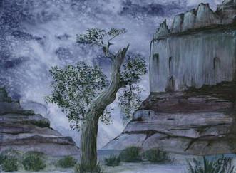 Desert night in Utah watercolor