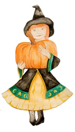 Pumpkin Patch posters Little Witch and Cat and a Pointy Black Hat detail