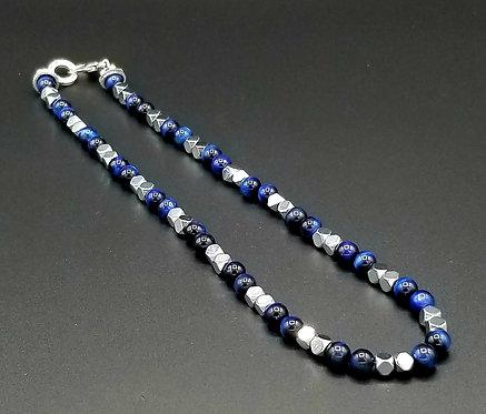 "20"" Blue Tigereye & Hematite Necklace"
