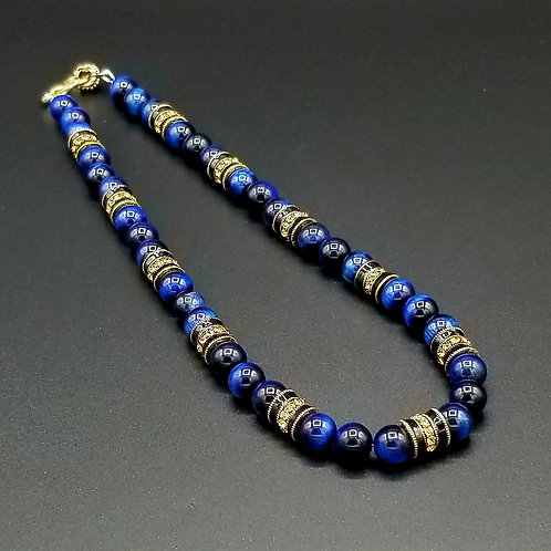 "Ramses - 20"" Blue Tigereye Necklace"