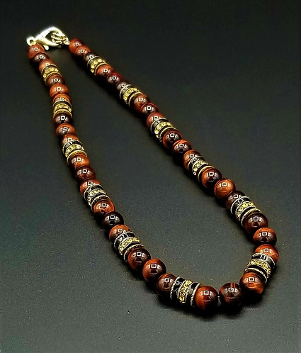 """Ramses -  20"""" Red Tiger Eye Necklace"""