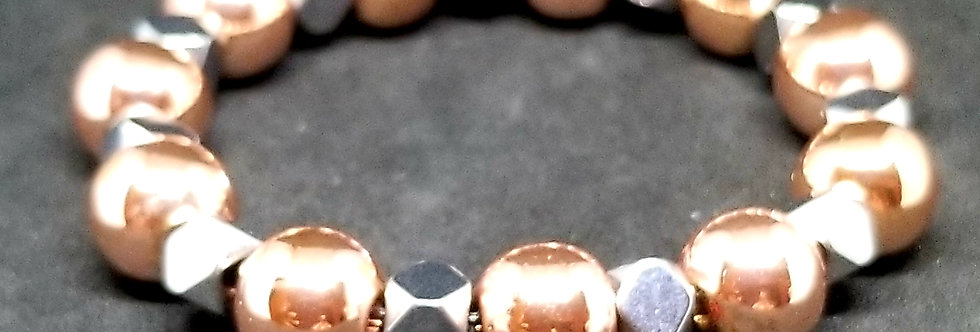 Rose Gold Hematite & Faceted Hematite