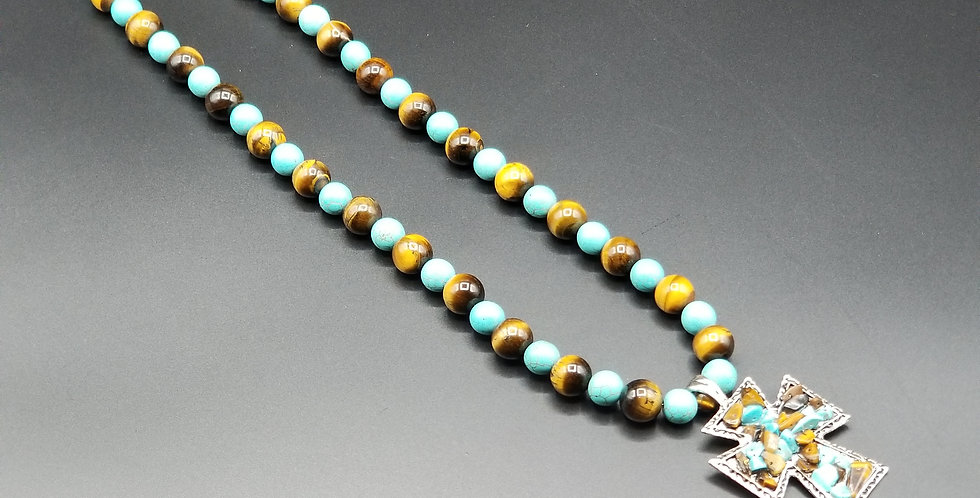 """26"""" Grand Tiger Eye & Turquoise Necklace"""