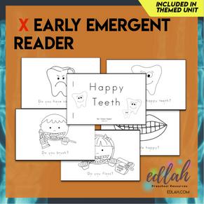 Dental Health Early Emergent Reader - Black & White Version