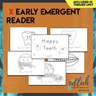 Dental Health Early Emergent Reader - Black & White Version