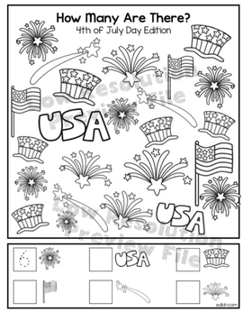 """4th of July """"How Many Are There"""" Activity Sheet"""