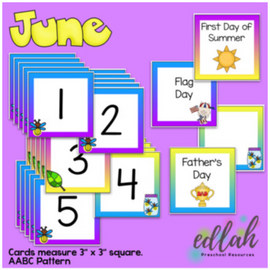 June Calendar Pieces - Firefly Themed - AABC Pattern