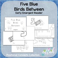 Five Blue Birds Early Emergent Reader (Between) - Black & White Version