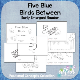 Five Blue Birds Early Emergent Reader (Between) - Black & White Version