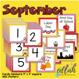 September Calendar Pieces - Back To School Themed - ABC Pattern