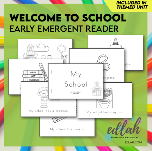 Welcome to School Early Emergent Reader - Black & White Version