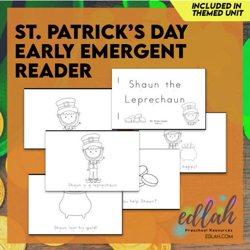 St. Patrick's Day Early Emergent Reader - Black & White Version