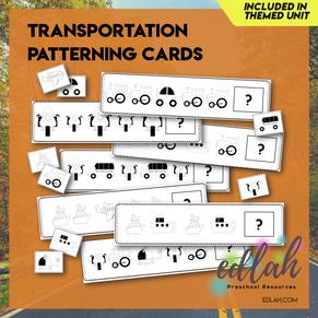 Transportation Patterning Cards - Black & White Version
