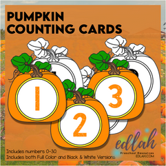 Pumpkin Counting Cards (Numbers 0-30 Included)
