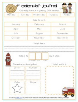 Fire Safety Calendar/Circle Time Journal Sheet