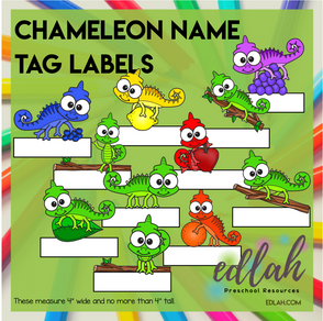 Chameleon Name Tag Labels - Full Color