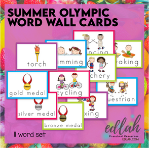 SUMMER Olympic Vocabulary Word Wall Cards (set of 11)-Full Color-Version#1