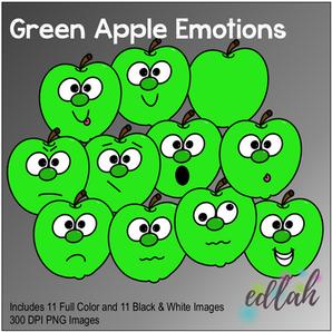 Green Apple Emotions Face Clip Art