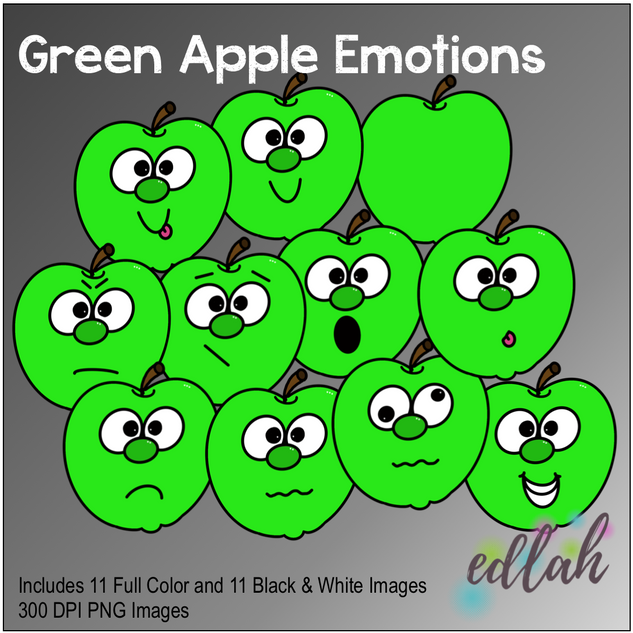 Green Apple Emotions Face Clip Art