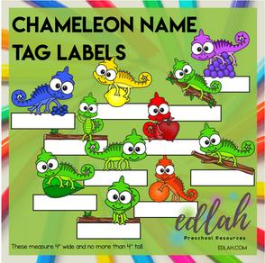 Chameleon Name Tag Labels - Full Color