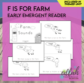 F is for Farm Early Emergent Reader - Black and White Version