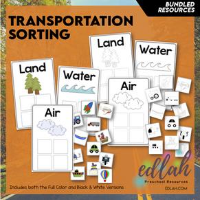 Transportation Sorting Boards Bundle (Full Color & Black and White Versions)