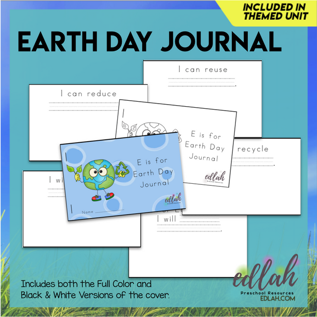 Earth Day Printable Journal - Color and Black and White