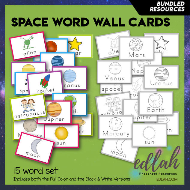 Space Vocabulary Word Wall Cards BUNDLE-Version#1