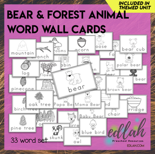 Bear and Forest Vocabulary Word Wall Cards (set of 33) - Black & White-Version#1