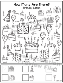 "Birthday ""How Many Are There"" Activity Sheet"