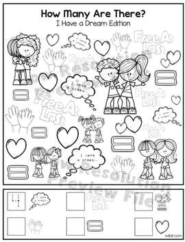"""I Have a Dream """"How Many Are There"""" Activity Sheet"""