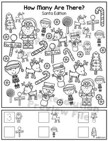 """Santa """"How Many Are There"""" Activity Sheet"""