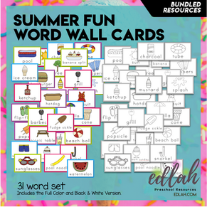 Summer Fun Vocabulary Word Wall Cards (31 Cards) - BUNDLE-Version#1