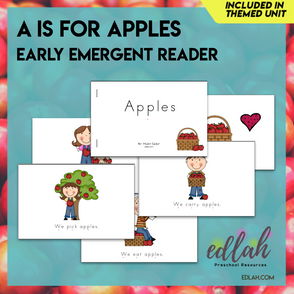A is for Apples Early Emergent Reader - Full Color Version