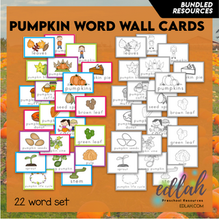 Pumpkin Vocabulary Word Wall Cards (set of 22) - BUNDLE-Version#1