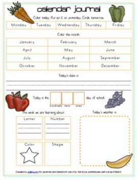 Nutrition Calendar/Circle Time Journal Sheet